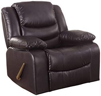 Traveller Location: Bonded Leather Rocker Recliner Living Room Chair (Brown):  Kitchen & Dining