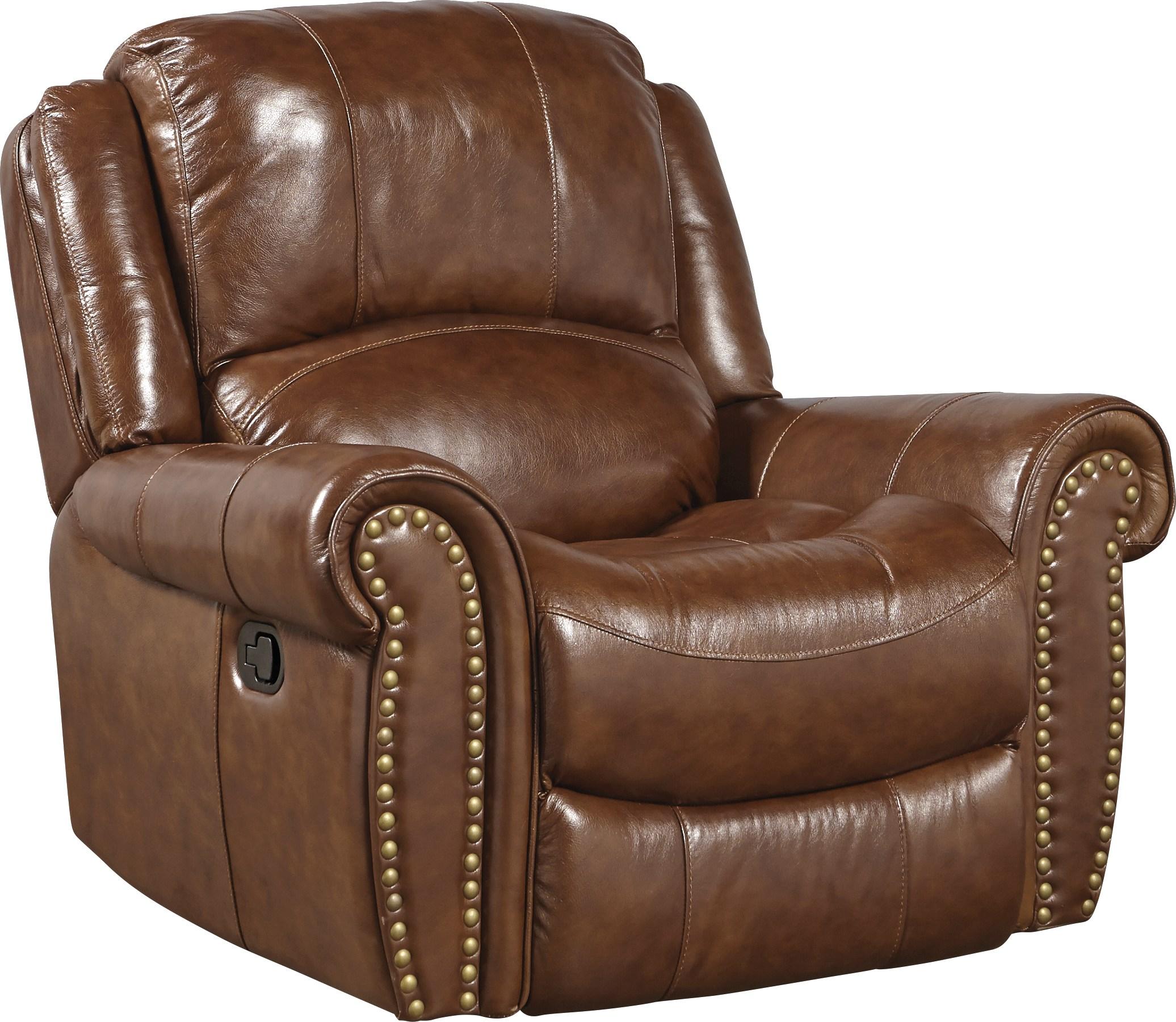 Abruzzo Brown Leather Glider Recliner