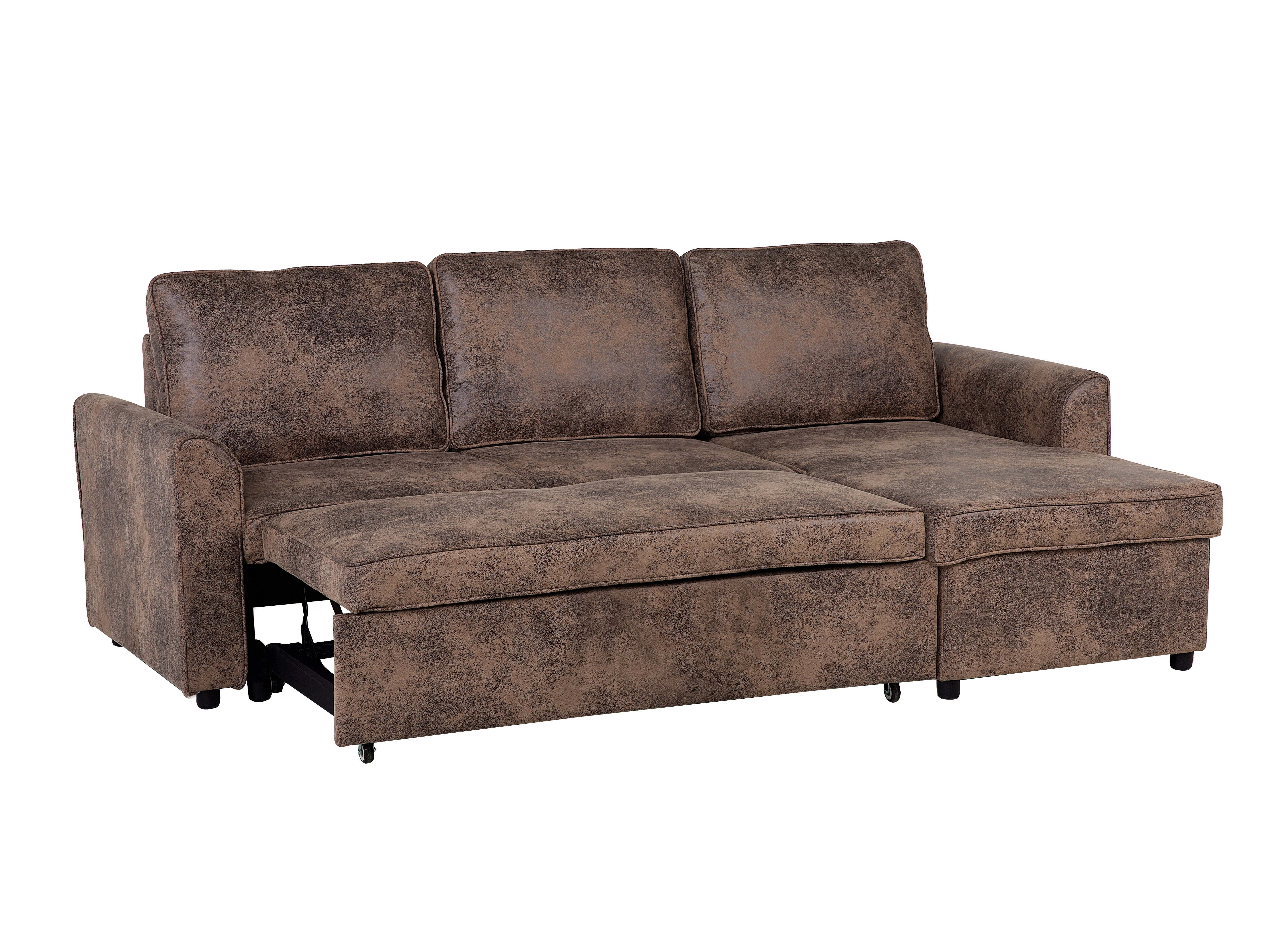 Left Hand Faux Leather Sectional Sofa Bed with Storage Brown NESNA_720308