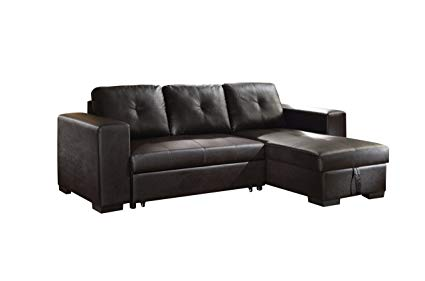ACME Lloyd Black Faux Leather Sectional Sofa with Sleeper