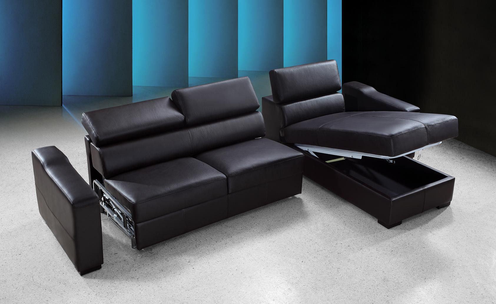 Your bookmark products. Flip Reversible Espresso Leather Sectional Sofa Bed