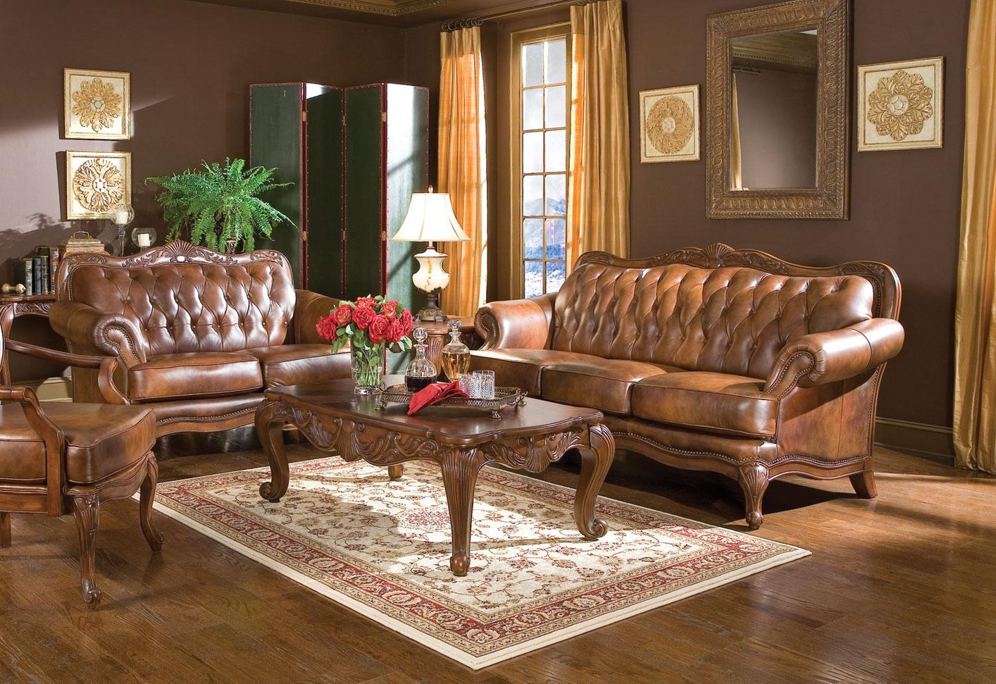 Victoria Brown Leather Sofa and Loveseat Set - Steal-A-Sofa Furniture  Outlet Los Angeles CA