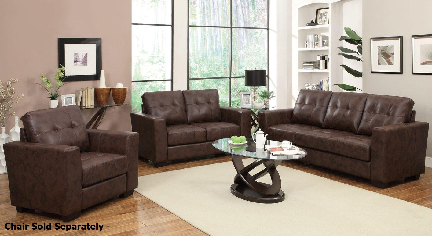 Enright Brown Leather Sofa and Loveseat Set - Steal-A-Sofa Furniture Outlet  Los Angeles CA