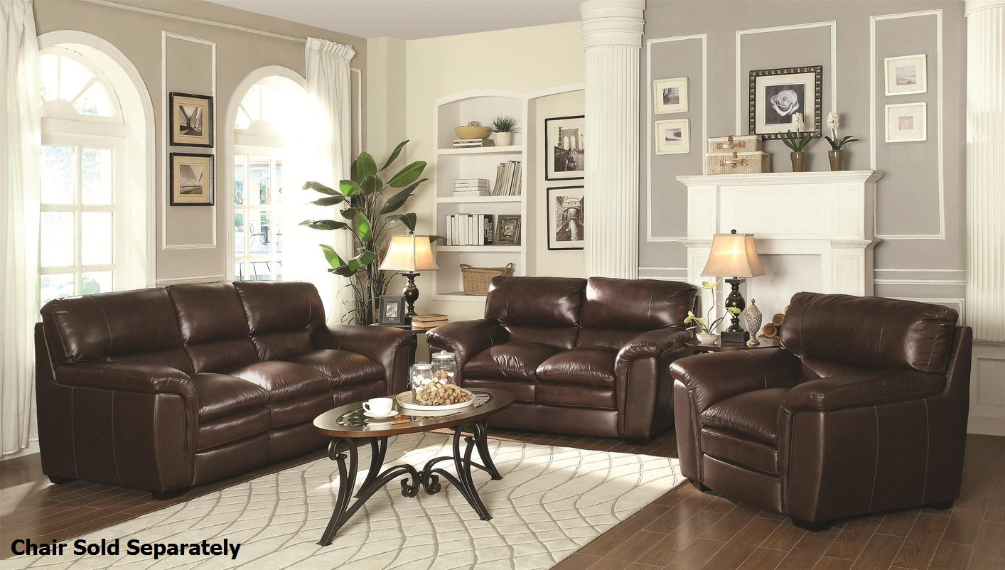 Burton Brown Leather Sofa and Loveseat Set - Steal-A-Sofa Furniture Outlet  Los Angeles CA