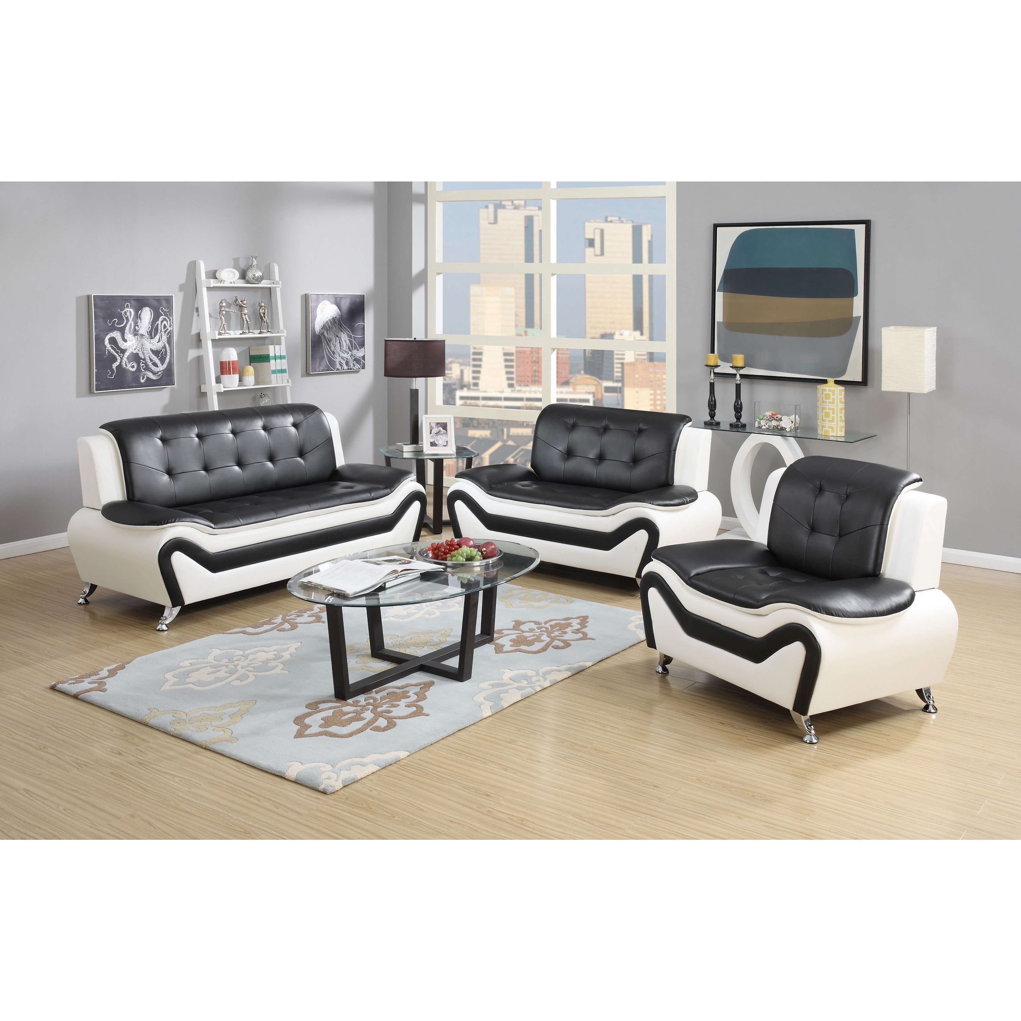 Shop Wanda 3-Piece Modern Bonded Leather Sofa Set - Free Shipping Today -  Overstock - 10736797