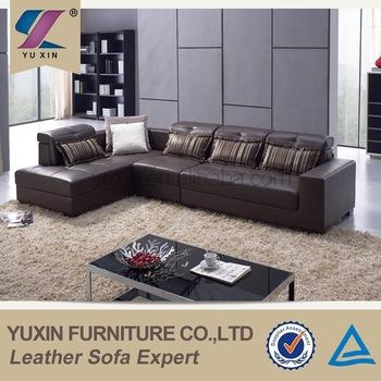 Living room leather sofa set designs/modern l-shape chesterfield leather  sofa set