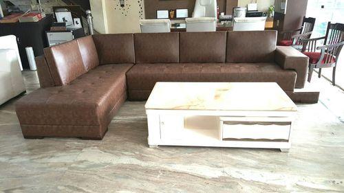 6 Seater Brown Designer Leather Sofa Set