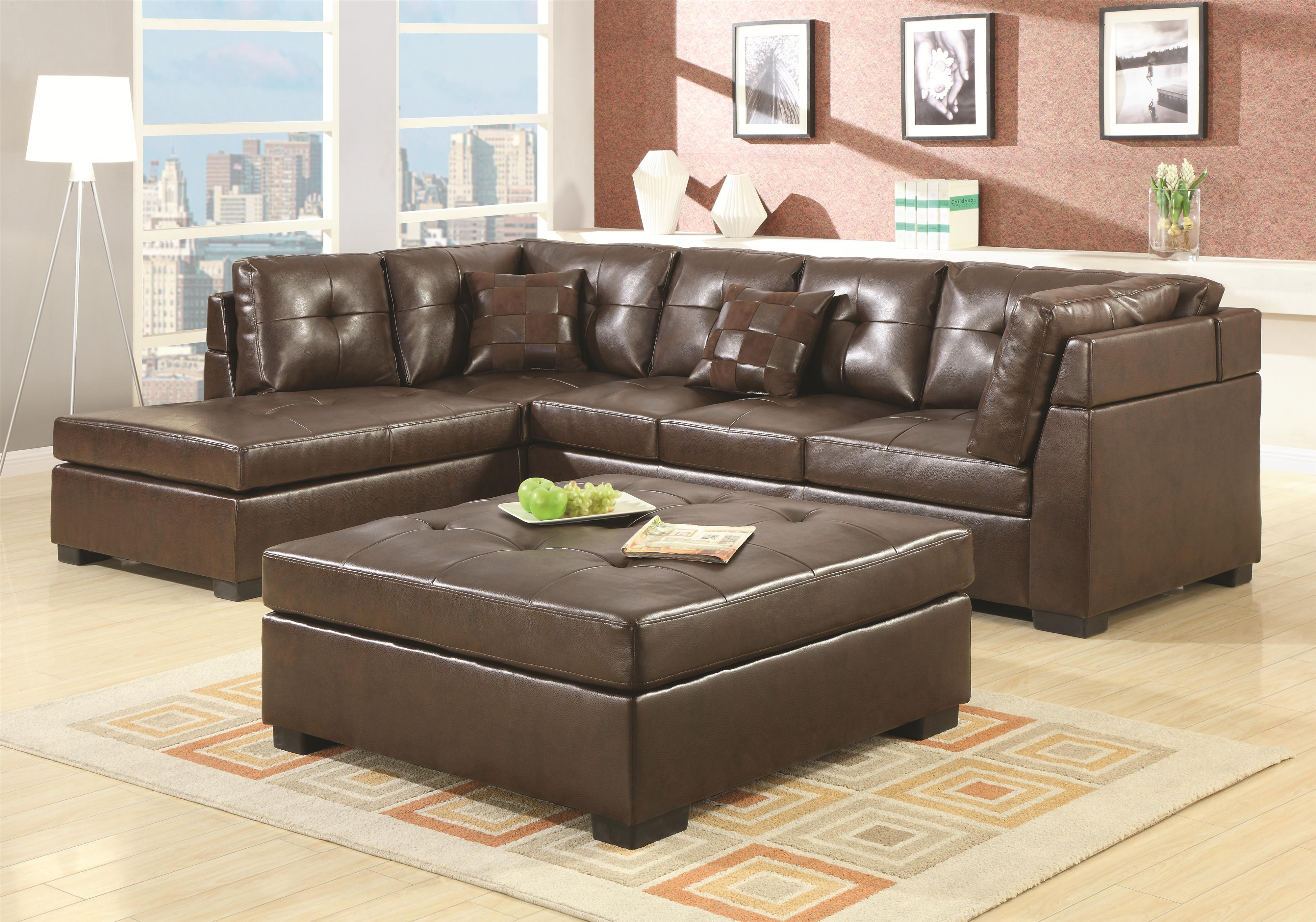 Darie Leather Sectional Sofa with Left-Side Chaise by Coaster