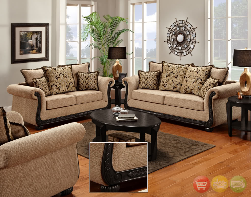 Details about Delray Traditional Loveseat & Chair Living Room Furniture Set  Taupe Chenille