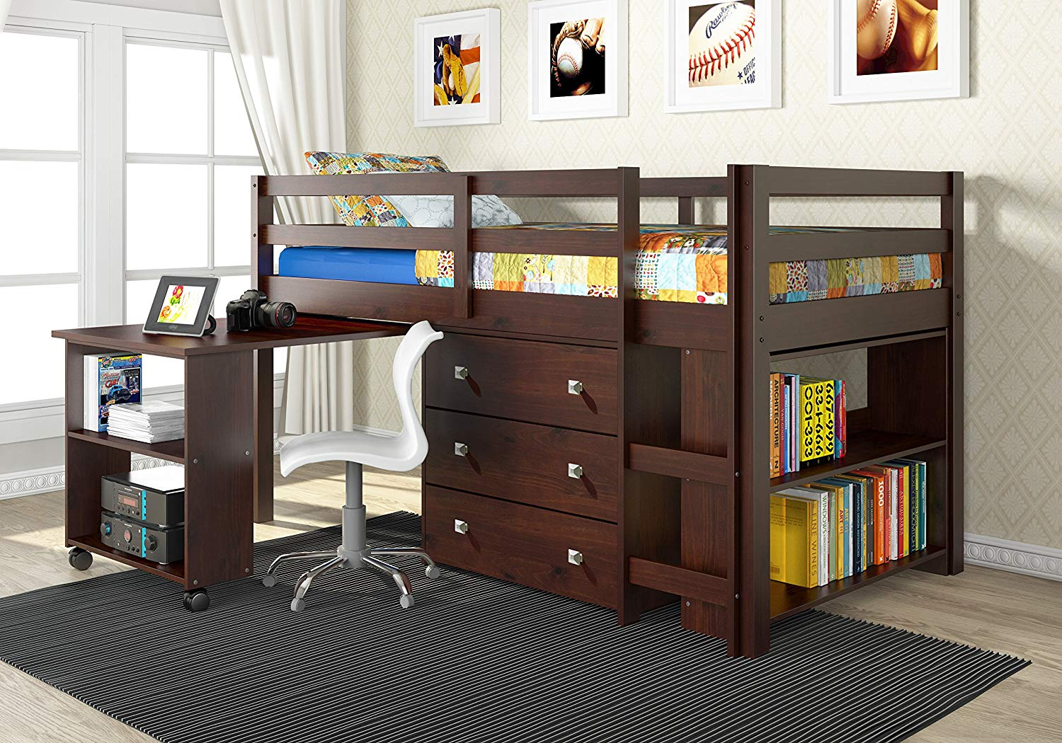 Traveller Location: DONCO Kids 760-CP Low Study Loft Bed, Dark Cappuccino: Kitchen  & Dining