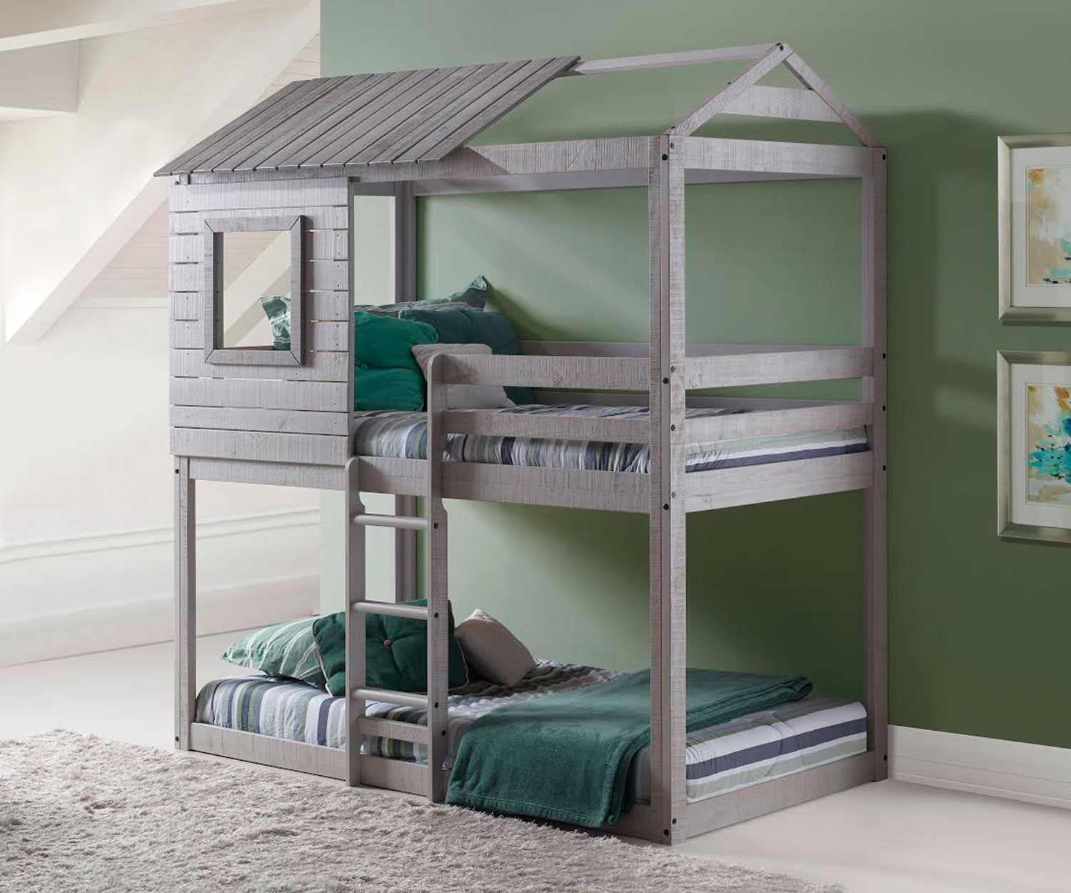Donco Trading Kids Furniture Deer Blind Bunk Loft Bed in Light Grey Finish  1370TTLG
