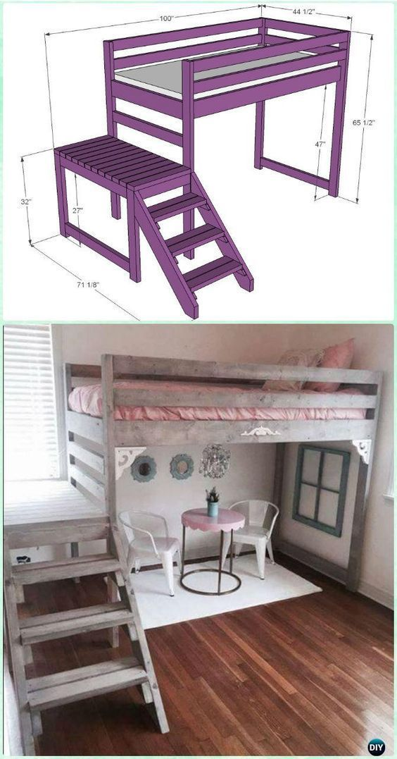 DIY Camp Loft Bed with Stair Instructions-DIY Kids Bunk Bed Free Plans # Furniture