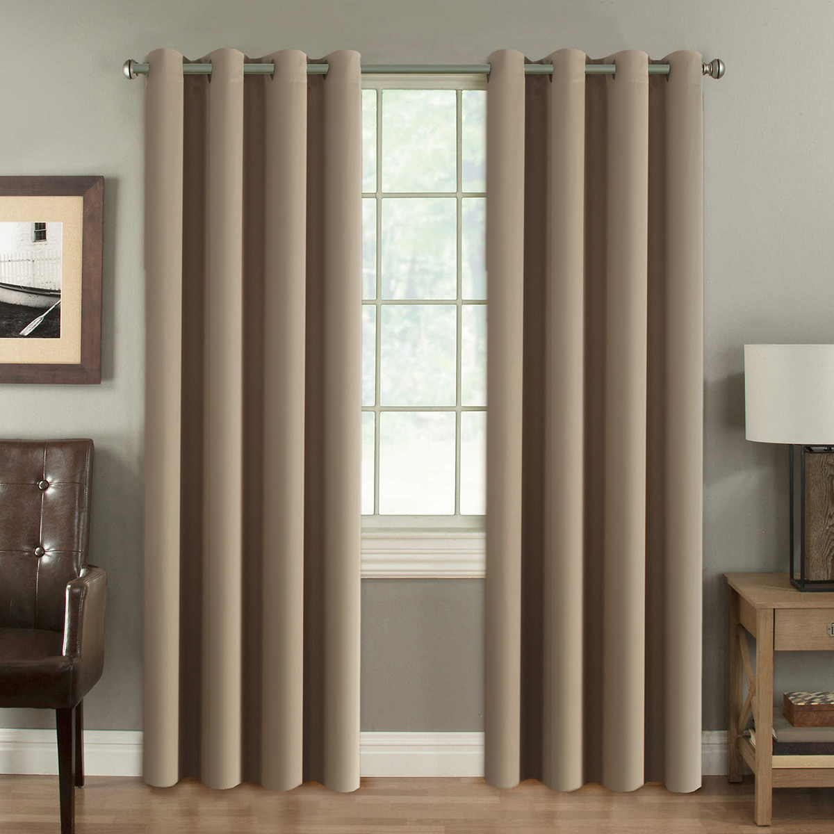 H.VERSAILTEX Blackout Thermal Insulated Room Darkening Winow Treatment  Extra Long Curtains / Drapes,Grommet Panels (Set of 2,52 by 108 -  Inch,Solid Khaki)