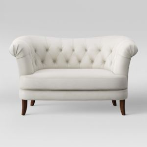Image is loading Tufted-Loveseat-Sofa-Settee-Couch-Furniture-Velvet-Living-