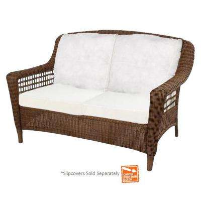 Spring Haven Brown Wicker Outdoor Patio Loveseat
