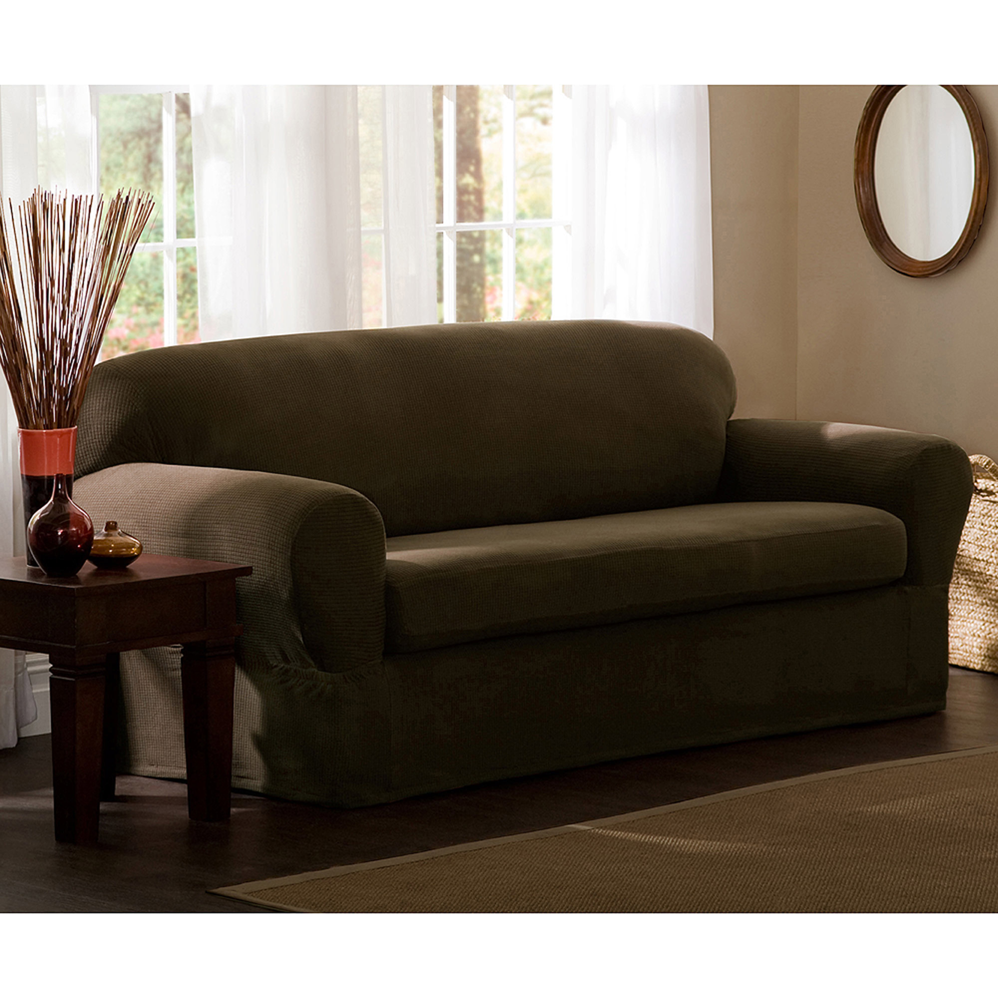 Maytex Stretch Reeves 2 Piece Loveseat Furniture Cover Slipcover -  Traveller Location