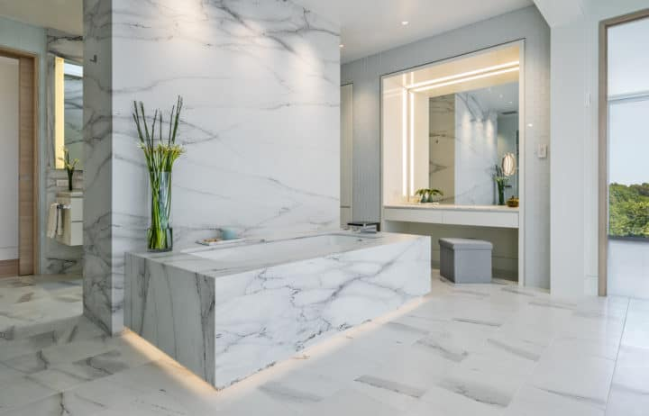 Bathroom design is evolving from tiled walls and flooring to exciting new  approaches. Many of the designs we see today integrate stone elements in  creative
