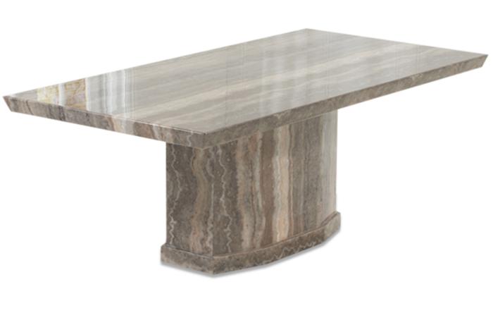 Calvera 200cm Brown Pedestal Marble Dining Table