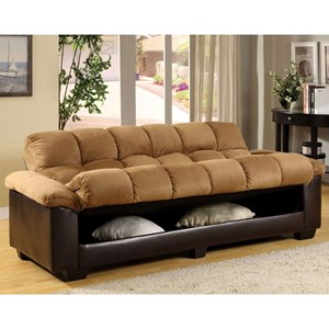 Convertible Microfiber Sofa Bed with Under-Seat Storage