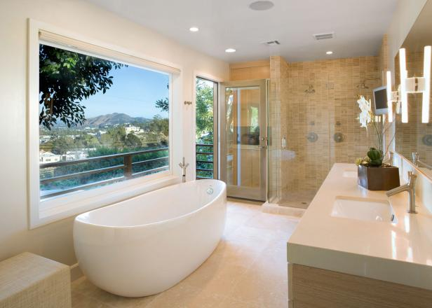 Contemporary Bathroom Features Freestanding Tub & Shower for Two