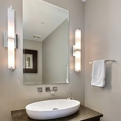 Modern Bathroom Lighting Ideas · Rectilinear shaped light bar with  multi-layered white glass or white acrylic diffuser (not
