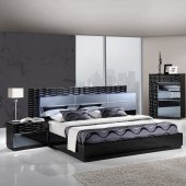 Manhattan Bedroom in Black by Global w/Platform Bed & Options