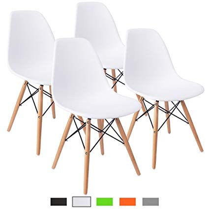 Furmax Pre Assembled Modern Style Dining Chair Mid Century White Modern DSW  Chair, Shell Lounge