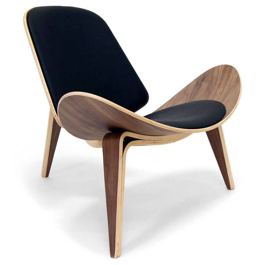 Call to Order · Chicago Classic Modern Chair in Black Leather and Walnut