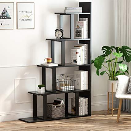 Tribesigns 5-Shelf Ladder Corner Bookshelf, Modern Simplism Style 63 ' H x