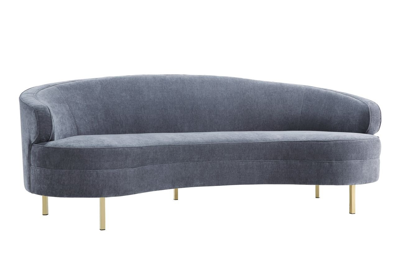 Traveller Location: Tov Furniture The Baila Collection Modern Style Living Room  Velvet Upholstery Curved Sofa with Stainless Steel Legs, Grey: Kitchen &  Dining