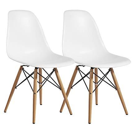 Modern Design 8742354128 10048-22 Modern Plastic Dining Side Chair WoodLeg  Eiffel Base Set of