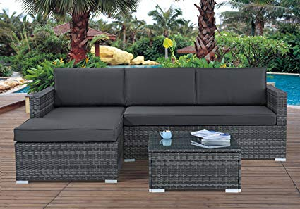 Amazon.com : Modern Outdoor Garden, Sectional Sofa Set with Coffee
