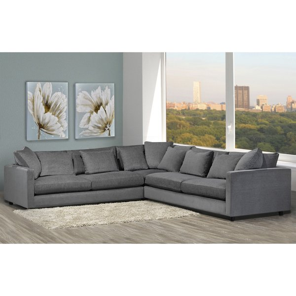 Shop Made to Order Modern Lounge Down Filled Grey Fabric Sectional Sofa -  Free Shipping Today - Overstock - 13787060