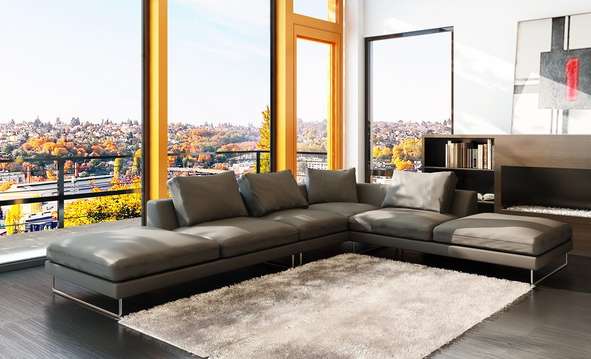 Your bookmark products. 5051 Modern Grey Leather Sectional Sofa
