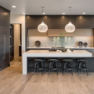 Large modern open concept kitchen ideas - Inspiration for a large modern  single-wall light
