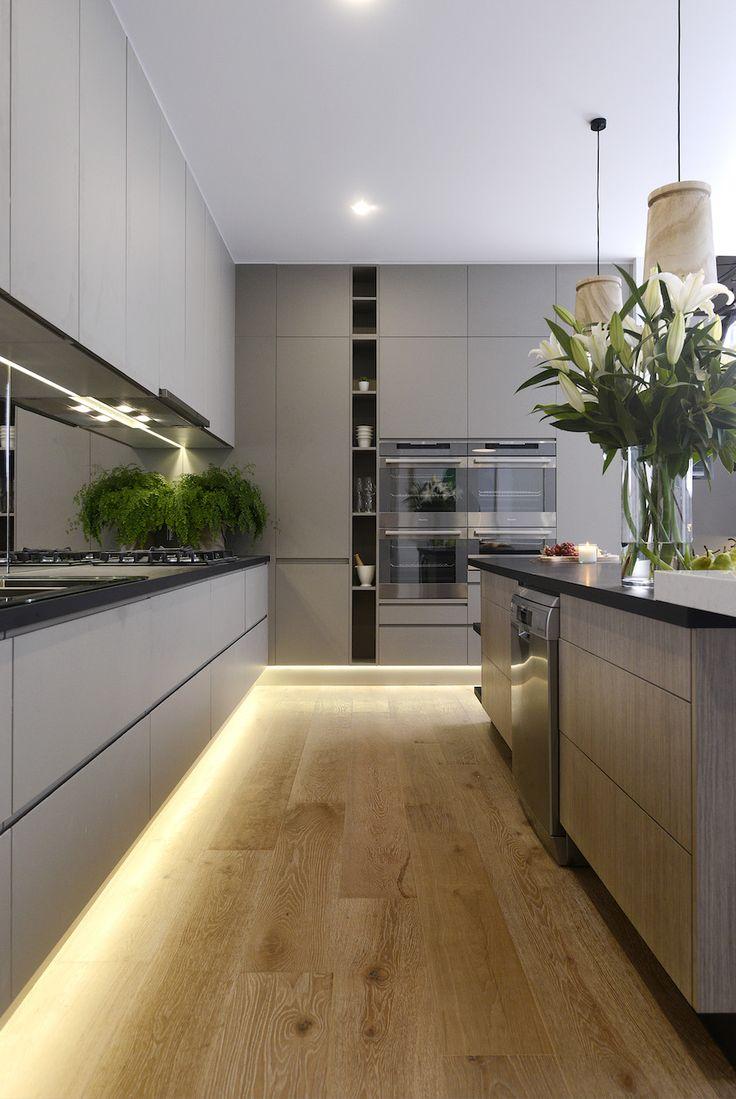 Photo - grey kitchen // cozinha cinza ~ via stylecurator in 2019 | Eldhús |  Pinterest | Modern kitchen design, Kitchen benches and Contemporary kitchen