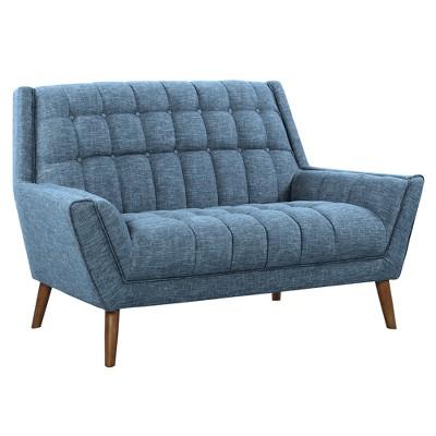 Cobra Mid-Century Modern Loveseat In Blue Linen And Walnut Legs - Armen  Living : Target