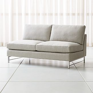 Tyson Armless Loveseat with Stainless Steel Base