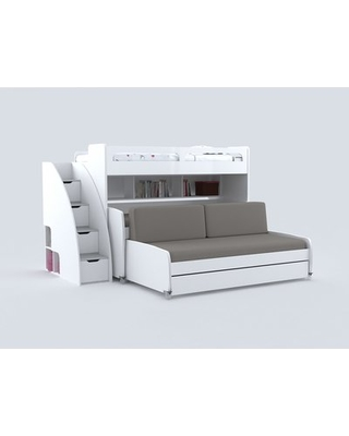 Gautreau Modern Twin Bunk Bed with Trundle Bed Frame Color: White