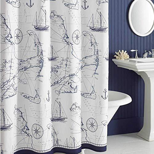 DS BATH Aviation Nautical Shower Curtains,Mildew Resistant Microfiber  Fabric Shower Curtain,Navy Shower