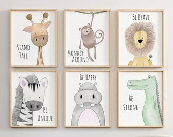 Safari Nursery Decor, Animal Nursery Printa, Quote Nursery Print, Peekaboo  Nursery, Safari Animal, Safari Nursery, Neutral Nursery Prints