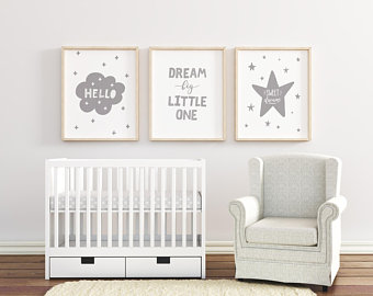 Dream Big Little One Nursery Art, Set of 3 Nursery Pictures, Grey Nursery  Wall Art, Boys / Girls Room