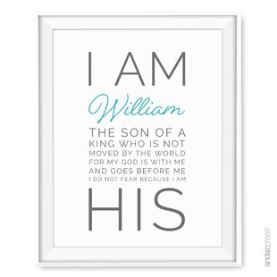 Personalized Religious I am His Nursery Wall Art