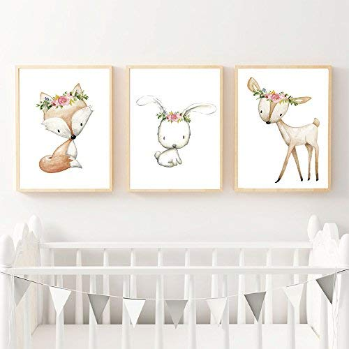 Set of 3 Boho Baby Woodland Fox Bunny Rabbit Deer Woodland Nursery Wall Art  Print Baby Girl Room Decor Woodland Nursery art, Woodland Fox, Baby Shower  Gift