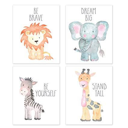 Nursery Wall Art Animal Paintings Set of 4, Safari Nursery Baby Kids Room  Wall Prints