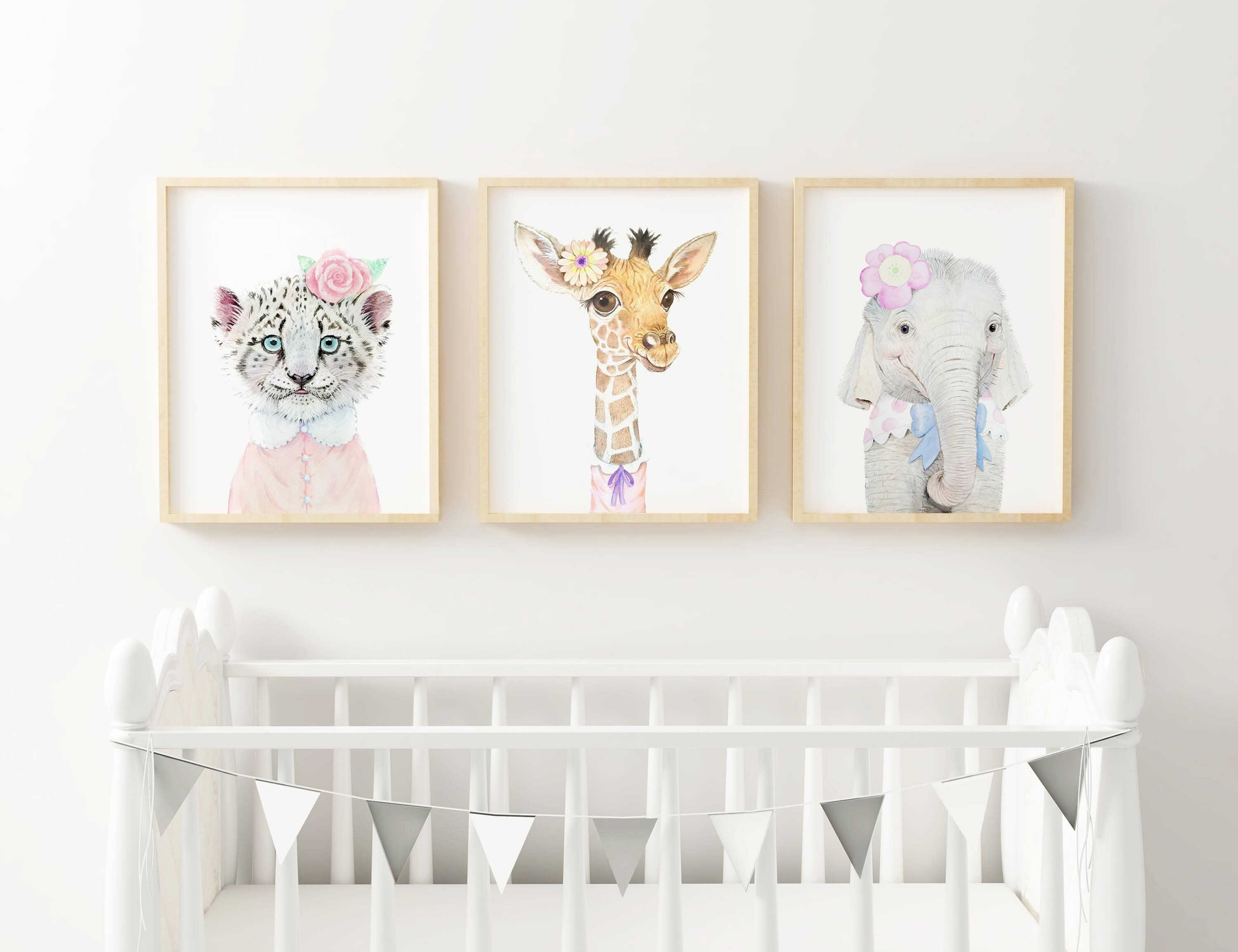 Girl Nursery Wall Art jungle animals - set of three prints