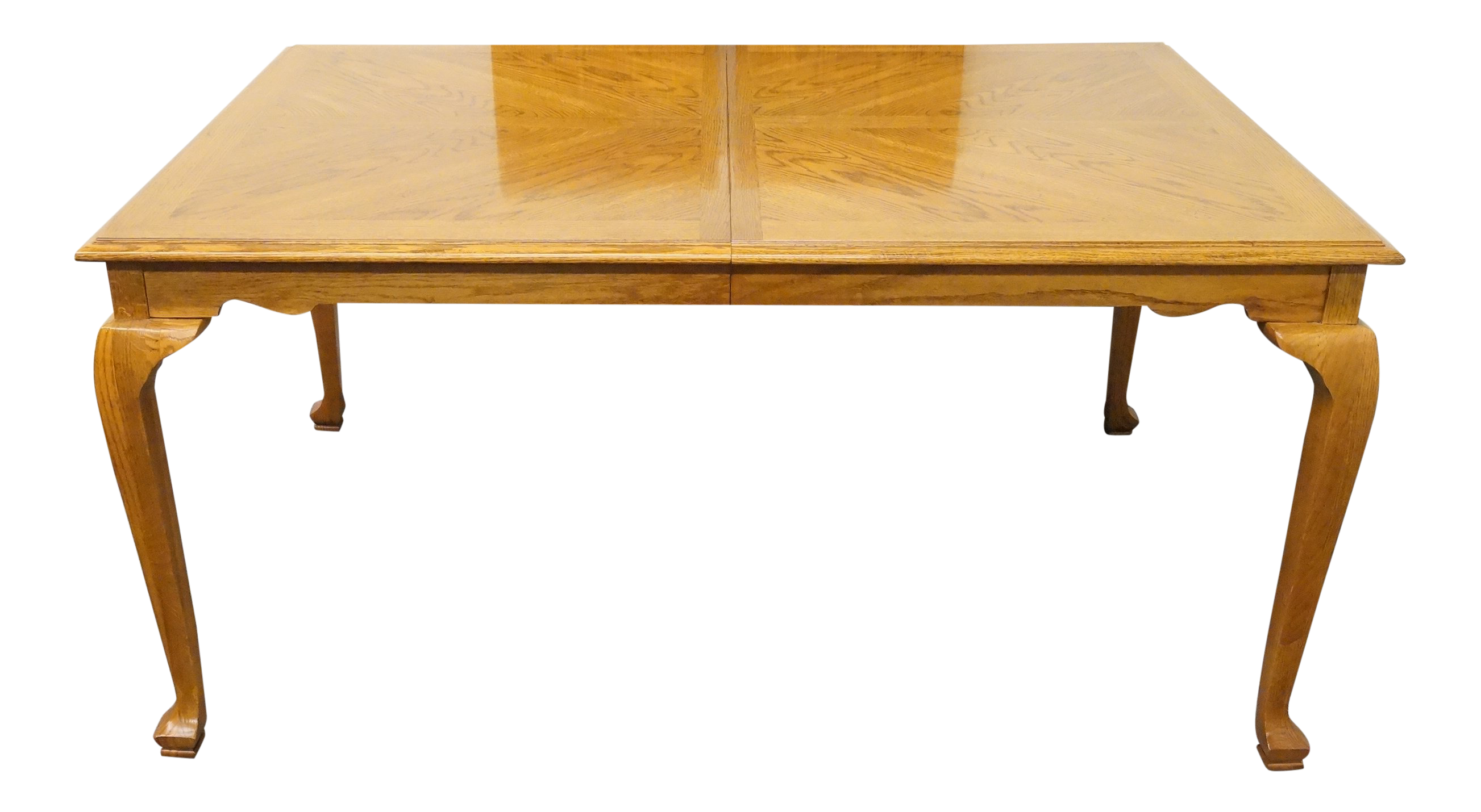 20th Century Traditional American Drew Bookmatched Oak Dining Table