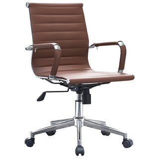 Shop 2xhome Brown Mid Back PU Leather Executive Office Chair Ribbed Tilt  Conference Room Boss Home Work Desk Task Guest With Arms - Free Shipping  Today