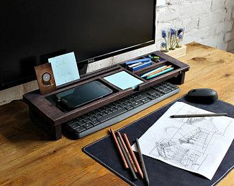 Wood desk organizer – Tray organizer (Exl. col) Office desk accessories,  keyboard rack desktop, wooden desk organizer, desktop shelf, gift