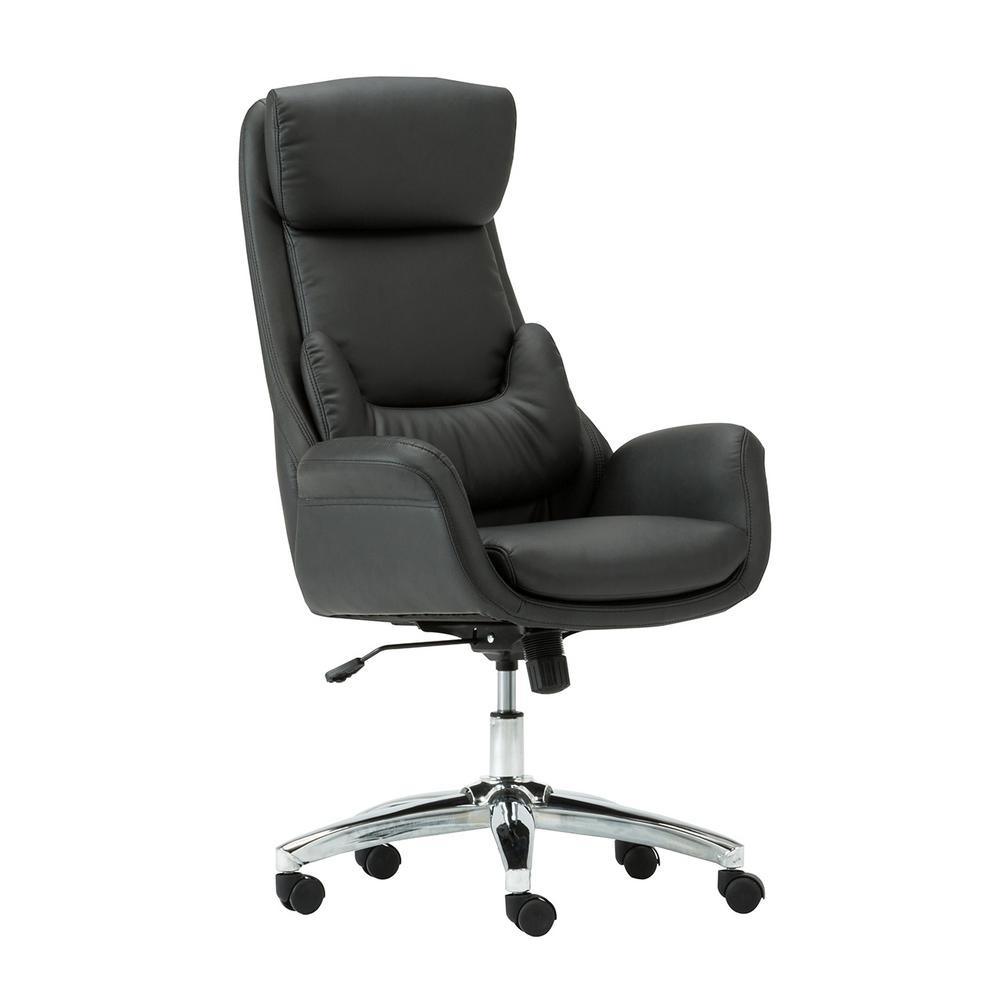 Techni Mobili Black Ergonomic Home Office Executive Chair with Lumbar  Support